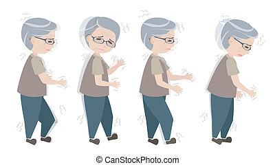 wandelende, oud, parkinson's, symptomen, man, moeilijk
