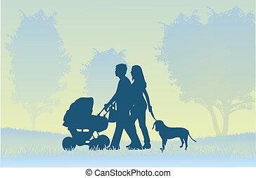 wandelende, ouders, kind
