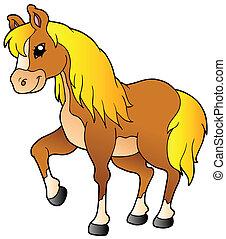 wandelende, paarde, spotprent
