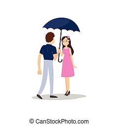 wandelende, paraplu, romantisch paar, regen, onder, vrolijke
