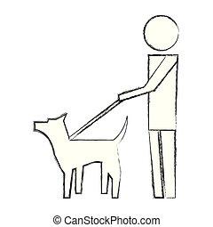 wandelende, pictogram, aanhalen, beeld, dog, man