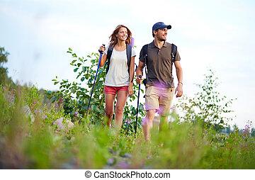wandelende, samen