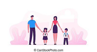 wandelende, school., gezin, moderne, back, samen., verticaal, kinderen, toonaangevend, vader, uniform, hun, ouders, vasthouden, plat, scholieren, illustratie, spotprent, hands., geitjes, vector, moeder