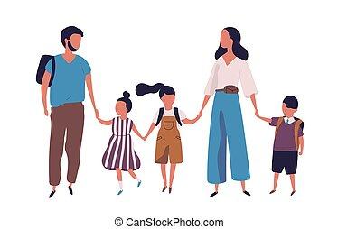 wandelende, school., gezin, moderne, samen., verticaal, style., hun, toonaangevend, vader, vrijstaand, kinderen, achtergrond., ouders, vasthouden, witte , plat, kleurrijke, illustratie, handen, geitjes, vector, moeder