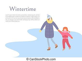 wandelende, seizoen, moeder, wintertime, kind, buitenshuis