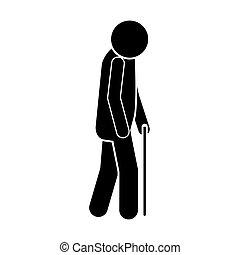 wandelende, silhouette, bejaarden, stok, pictogram, man
