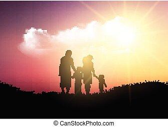 wandelende, silhouette, gezin, hemel, tegen, ondergaande zon
