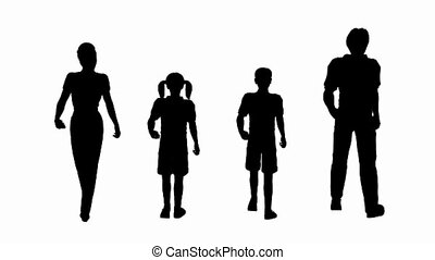 wandelende, silhouette, gezin, lus, seamless