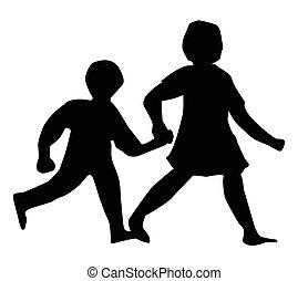 wandelende, silhouette, kinderen