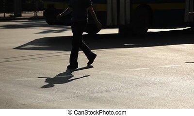 wandelende, silhouette, mensen