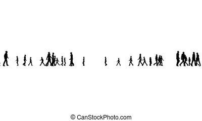 wandelende, silhouette, mensenmassa