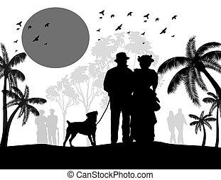 wandelende, silhouette, ouderwetse , paar, dog, hun