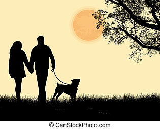 wandelende, silhouette, paar, dog, hun, ondergaande zon