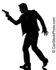 wandelende, silhouette, politieagent, moordenaar, geweer, vasthouden, man