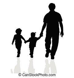 wandelende, silhouette, twee, gezin, kinderen