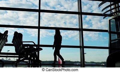 wandelende, silhouette, zakenlui, luchthaven, groep