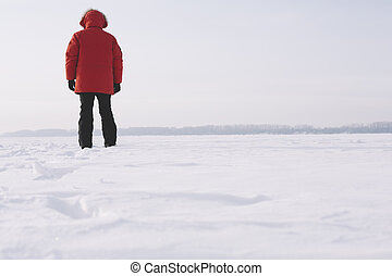 wandelende, sneeuw man