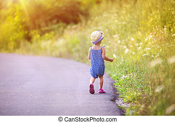 wandelende, straat, kind