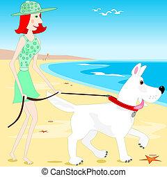 wandelende, strand, dog
