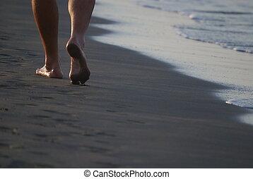 wandelende, strand, man