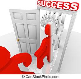 wandelende, succes, mensen, deuropening, door, doelen, bereiken