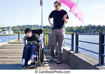 wandelende, vader, meer, zoon, invalide, pijler, uit