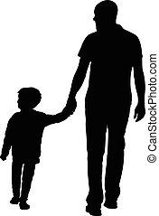wandelende, vader, zoon