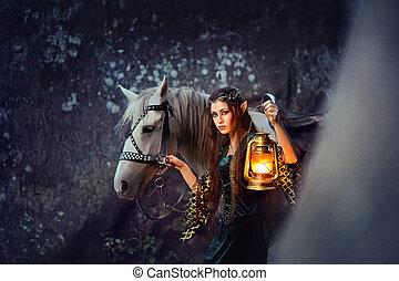 wandelende, vasthouden, haar, elf, jonge, vrouwlijk, paarde, lantaarntje