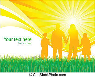 wandelende, vector, gezin, achtergrond