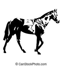 wandelende, vector, illustratie, paarde