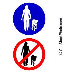 wandelende, verkeer, dog, tekens & borden