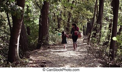 wandelende, vertragen, dochter, nature., motion., jonge,...