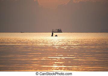 wandelende, visser, zee