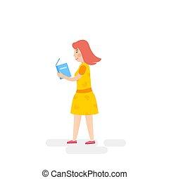 wandelende, vrouw, boek, lezende