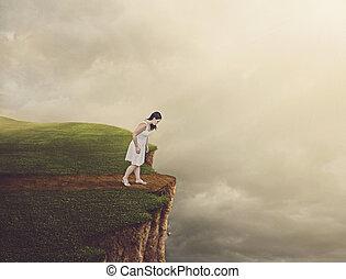 wandelende, vrouw, cliff.
