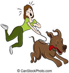 wandelende, vrouw, dog