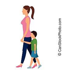 wandelende, vrouw, ontwerp, kind