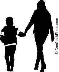 wandelende, vrouw, silhouette, handen, holdingskind
