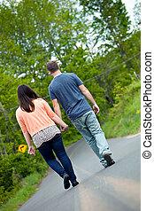 wandelende, vrouw, straat, man