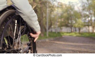 wandelende, vrouw, wheelchair, park, jonge, invalide, avond,...