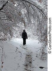 wandelende, vrouw, winter tijd