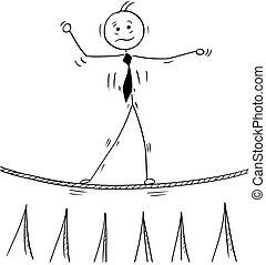 wandelende, zakelijk, koord, tightrope, spotprent, man
