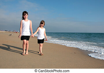 wandelende, zand, 2, zuster, langs, strand