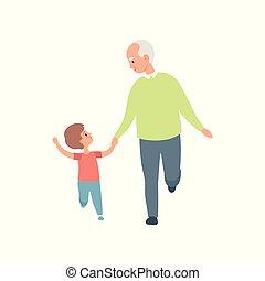 wandelende, zijn, kleinzoon, uitgeven, weinig; niet zo(veel), illustratie, kleinzoon, vector, opa, achtergrond, tijd, witte , grootvader, spelend