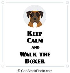 wandeling, bokser, kalm, bewaren