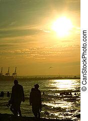 wandeling, gezin, ondergaande zon