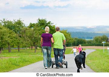 wandeling, hebben, dog, gezin, kinderen