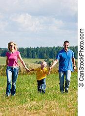 wandeling, weide, gezin, hebben