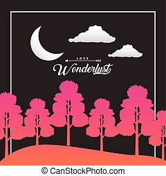 wandelust forest landscape with crescent moon scene