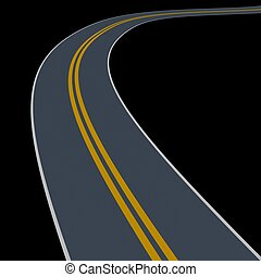 wander road - wander curve road isolated on dark background